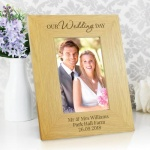 Personalised Oak Finish 4x6 Photo Frame - Our Wedding Day