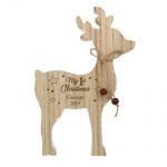 Personalised Rustic Wooden Reindeer Decoration - 1st Christmas