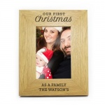 Personalised 6x4 Oak Finish Photo Frame - Our First Christmas