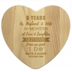Personalised Heart Chopping Board - 5th Anniversary