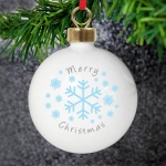 Personalised Christmas Tree Bauble - Snowflakes