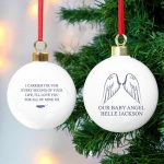 Personalised Ceramic Bauble - Guardian Angel Wings