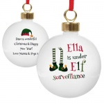 Personalised Ceramic Bauble - Elf Surveillance