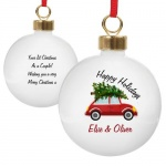 Personalised Ceramic Bauble - Driving Home For Christmas