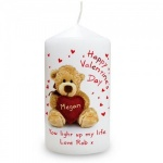 Personalised Cute Teddy & Heart Candle