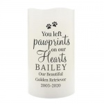 Personalised LED Candle - Pawprints On Our Hearts