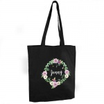 Personalised Black Cotton Bag - Floral