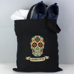 Personalised Black Cotton Bag - Sugar Skull