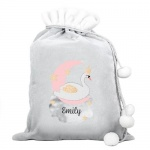 Personalised Luxury Silver Grey Christmas Sack - Swan Lake
