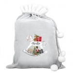 Personalised Luxury Silver Grey Christmas Sack - Rocking Horse