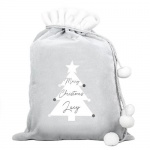 Personalised Luxury Silver Grey Christmas Sack - Christmas Tree