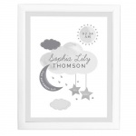 Personalised White Framed Nursery Print - New Baby Moon & Stars