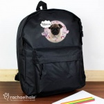 Personalised Black Backpack - Rachael Hale Doodle Pug
