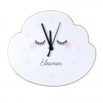 Personalised Shaped Wooden Clock - Eyelash and Cloud