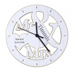 Personalised Shaped Wooden Clock - Mr & Mrs