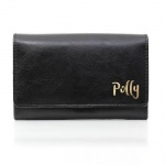 Personalised Black Leather Purse - Gold Name