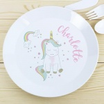 Personalised Plastic Plate - Baby Unicorn