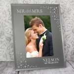 Personalised 6x4 Diamante Glass Photo Frame - Mr & Mrs