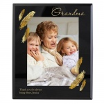 Personalised 5x7 Black Glass Photo Frame - Golden Feather