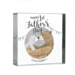 Personalised Crystal Token - 1st Father's Day Daddy Bear