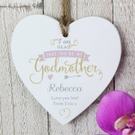 Personalised I Am Glad...  Wooden Heart - Godmother