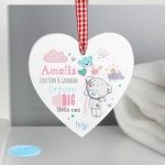 Personalised Tiny Tatty Teddy Pink Wooden Heart Decoration - Dream Big