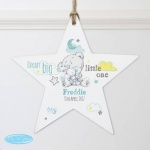 Personalised Tiny Tatty Teddy Blue Wooden Star Decoration - Dream Big