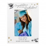 Personalised 6x4 White Wooden Photo Frame - Gold Star Graduation