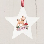 Personalised Wooden Star Decoration - Festive Fawn