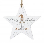 Personalised Wooden Star Decoration - Scandinavian Christmas Gnome