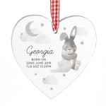 Personalised Wooden Heart Decoration - Baby Bunny