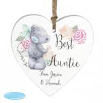 Personalised Wooden Heart Decoration - Me to You Floral