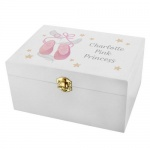 Personalised White Wooden Keepsake Box - Swan Lake Ballet