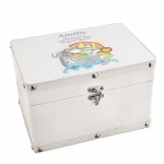 Personalised White Leatherette Keepsake Box - Noah's Ark