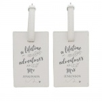 Personalised Cream Luggage Tag Set - Lifetime of Adventures Couples