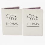 Personalised Cream Passport Holders - Couples