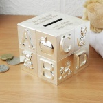 Personalised Silver Plated ABC Money Box
